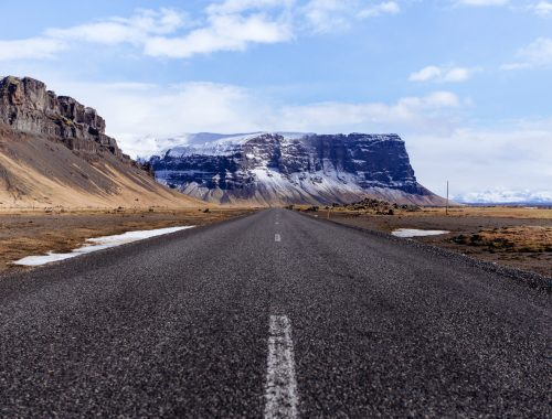 Iceland road and mountains