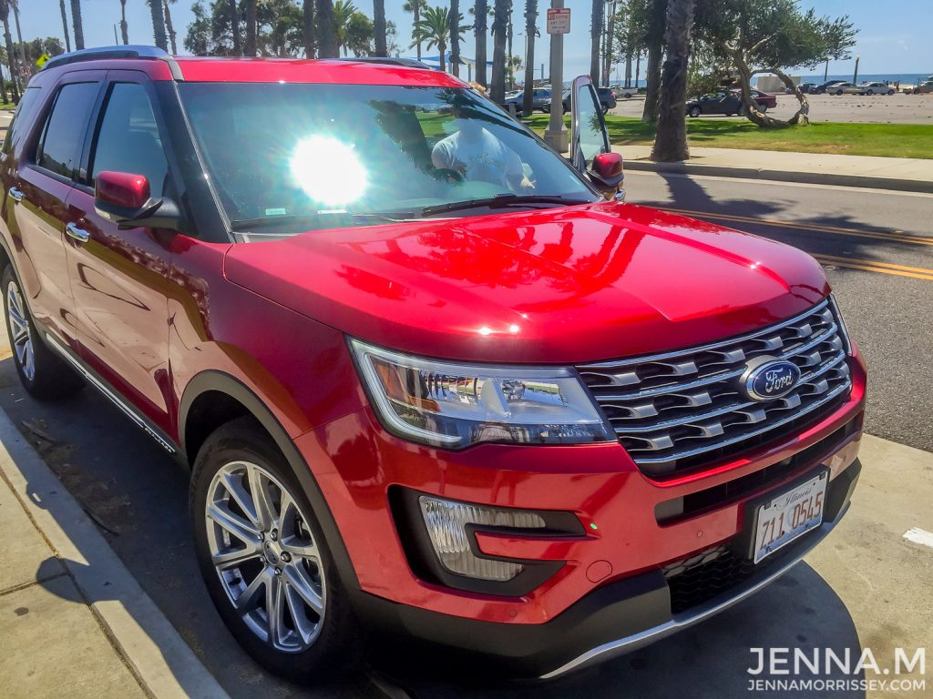 Red Ford Explorer on a California Road Trip