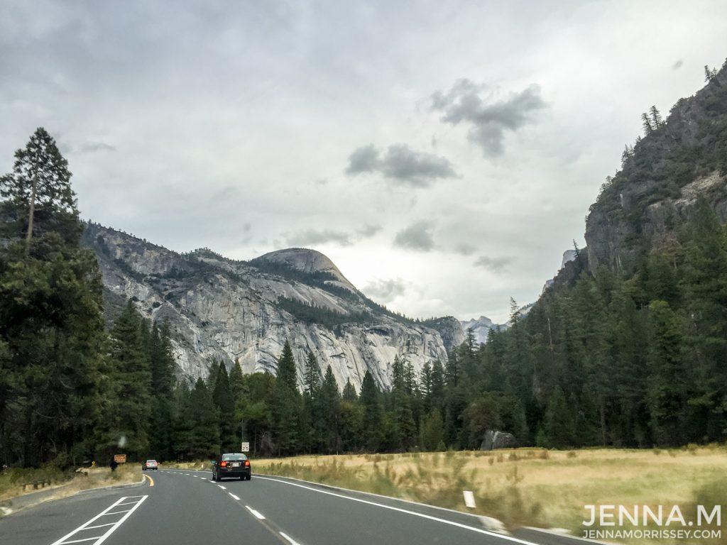 Driving into Yosemite National Park